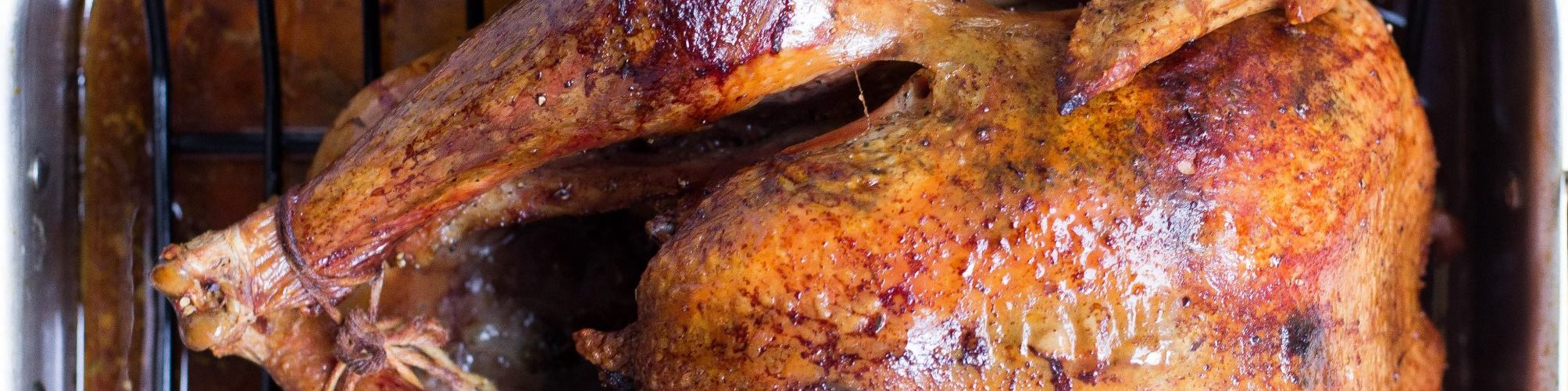 Close-up of a cooked Thanksgiving turkey.